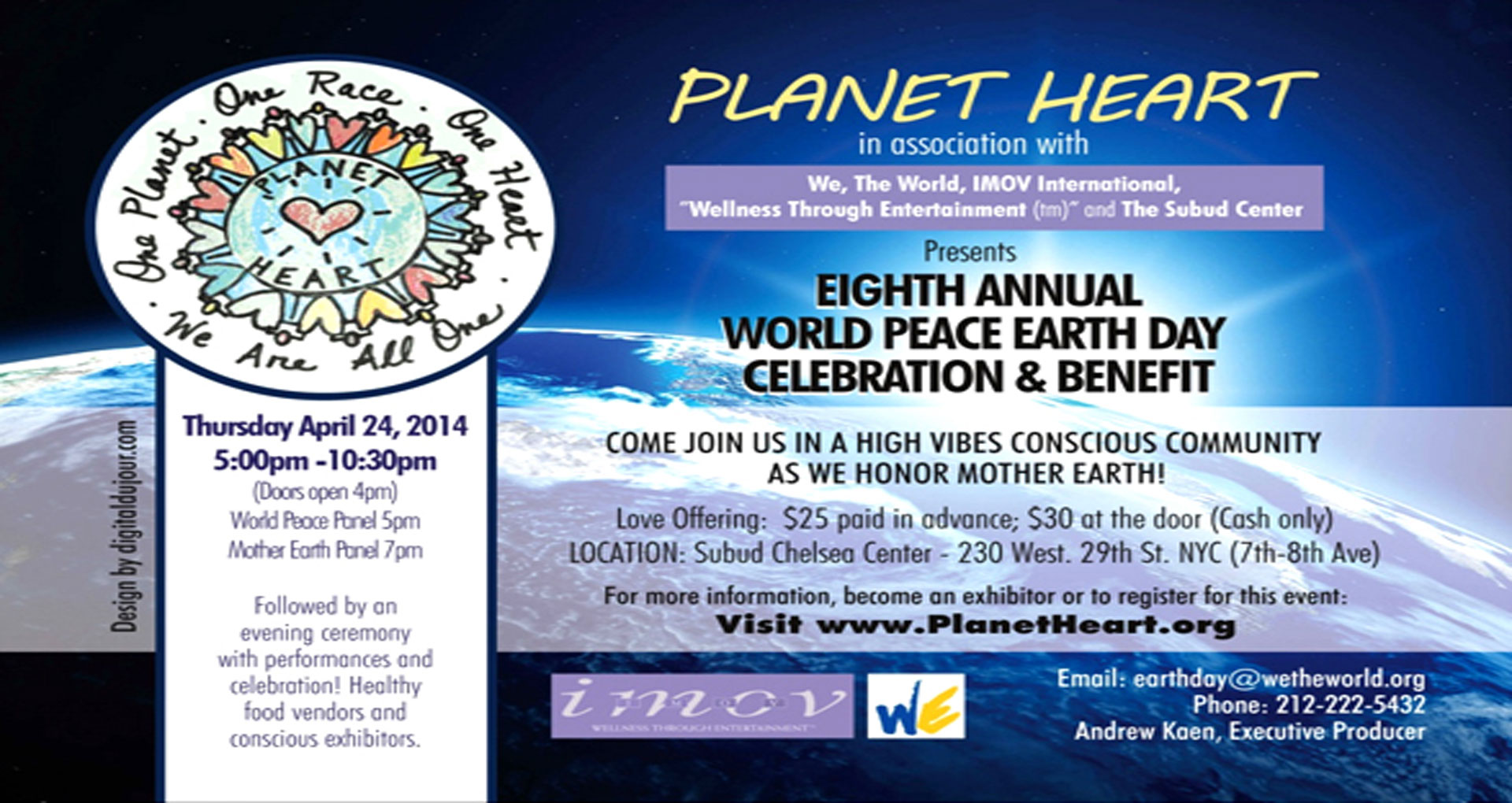 8th Annual Planet Heart Celebration in NYC - April 24th, 2014- Gary Null to be Guest Speaker