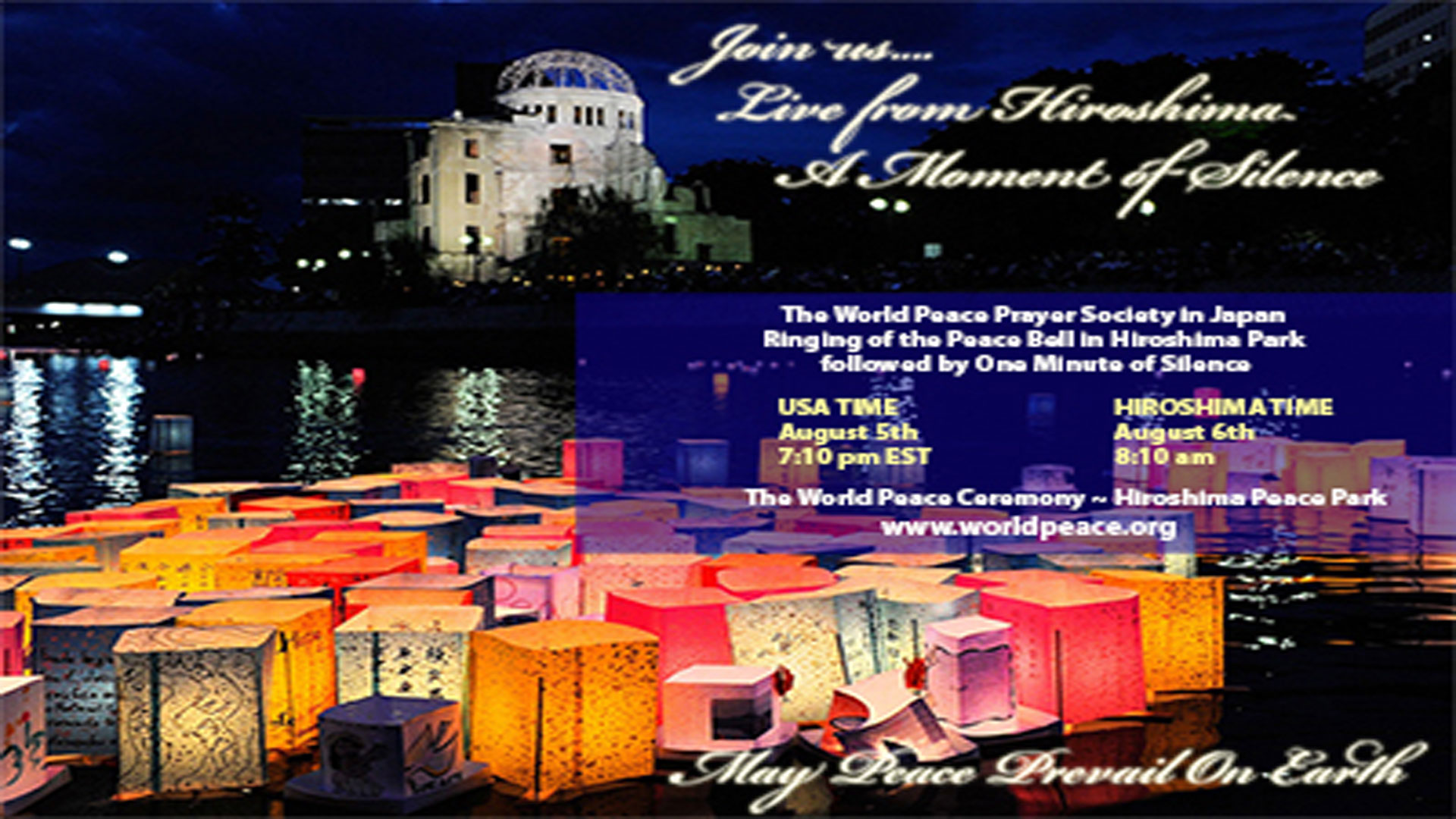 Join us LIVE in Hiroshima – August 5th/6th 2014
