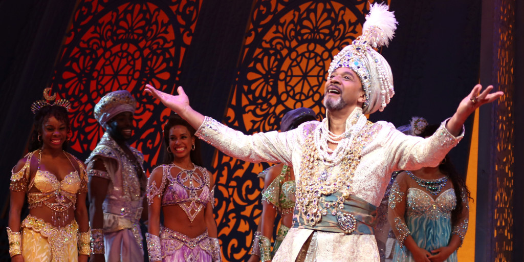 NEW YORK, NY - MARCH 20:  Clifton Davis and cast during the Broadway Opening Night Performance Curtain Call for Disney's 'Aladdin' at the New Amsterdam Theatre on March 20, 2014 in New York City.  (Photo by Walter McBride/WireImage)