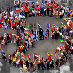 Human Peace Sign in Timea Square