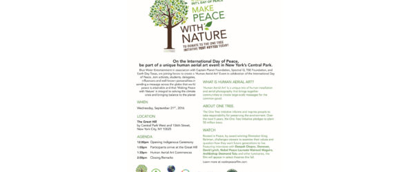 MAKE PEACE WITH NATURE EVENT in celebration of Int'l Day of Peace in Central Park