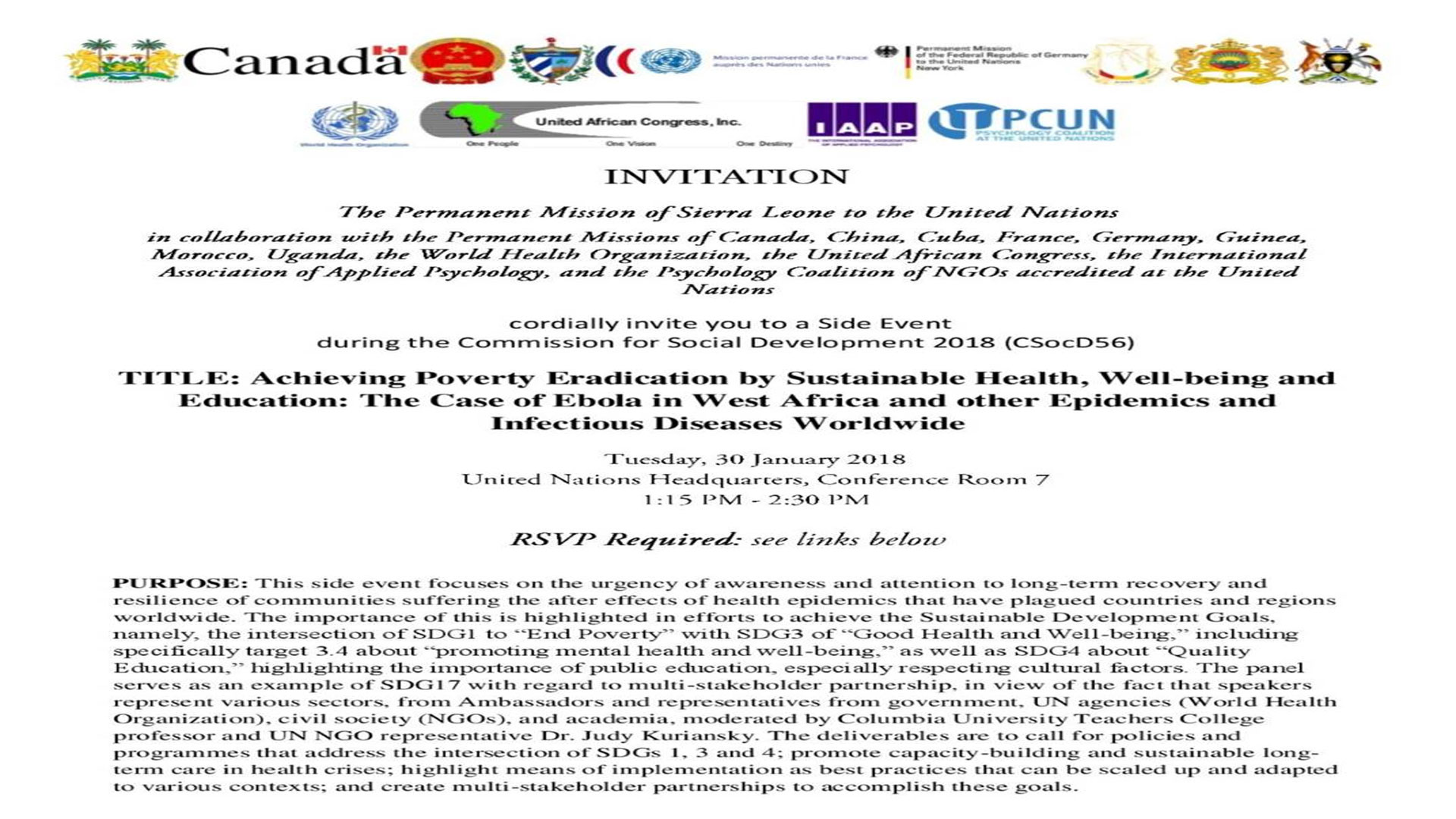 United Nations CSocD56 Side Event on Poverty, Mental Health & Education, Mission of Sierra Leone to the UN